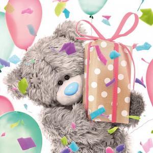 3D-Kort (Födelsedag), Nalle med födelsedagspresent - Me To You