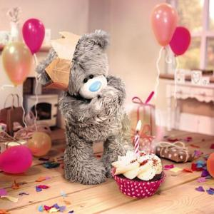 3D-Kort (Födelsedag), Nalle med cupcake - Me To You