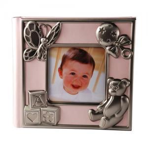 Fotoalbum rosa med tennfinish dekor för 100 foton