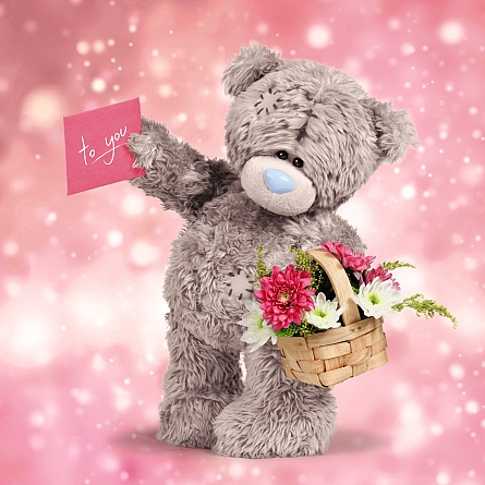 3D-Kort, Nalle med blomsterkorg - Me To You
