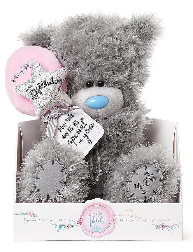 """Nalle """"""""Happy birthday"""""""" på ballonger, 20cm - Me to you"""