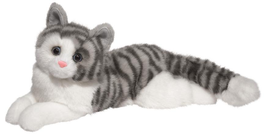 Katt Grårandig (liggande), 40cm - Douglas Mjukisdjur
