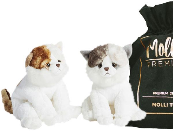 Premium Katt, 24cm - Molli Toys (Ljusbrun / Vit)