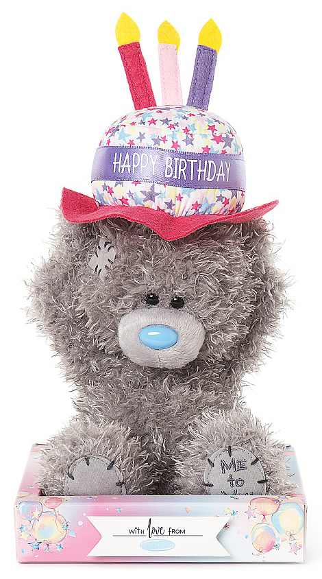 Nalle Happy Birthday på hatt, 15cm - Me To You