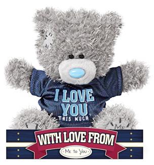 """Nalle """"""""I love you this much"""""""" på fotbollströja, 15cm - Me to you (Miranda nalle)"""