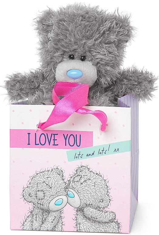 """Nalle i presentpåse """"""""I Love You"""""""", 13cm - Me to you (Miranda nalle)"""