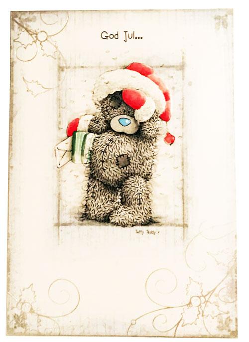 Kort, God Jul (Nalle håller paket) - Me To You