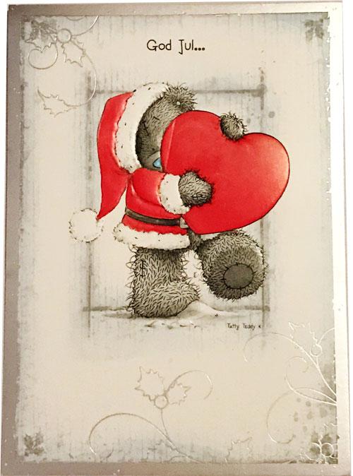 Kort, God Jul (Nalle håller stort hjärta) - Me To You